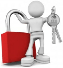 man with keys and a lock